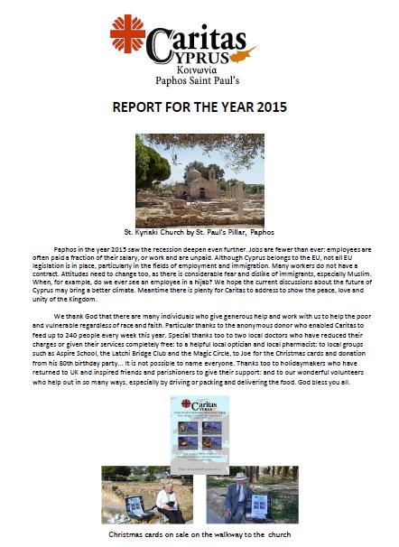 CARITAS 2015 Report Paphos, Cyprus